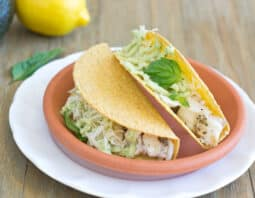 Fish Tacos with Avocado Cream Sauce