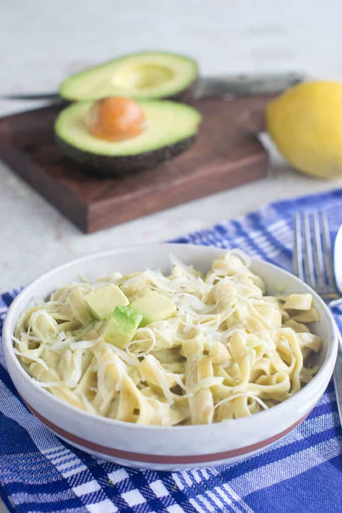 Enjoy this delicious fettuccine alfredo that is as creamy and luscious as the traditional version but with no cream or butter. The secret ingredient that brings the creaminess to the dish is avocado.