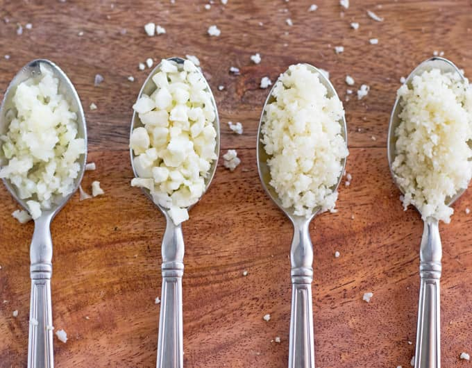 Different kinds of cauliflower crumbles