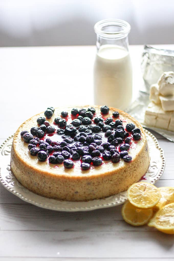 This lemony cheesecake is topped with a fresh blueberry sauce that brings a taste of summer to any time of year.