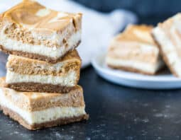Pumpkin-Vanilla Swirl Cheesecake Bars
