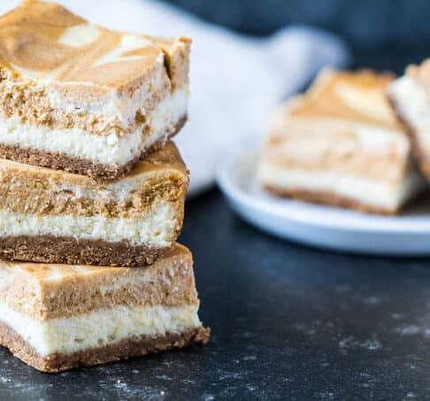 Pumpkin-Vanilla Swirl Cheesecake Bars