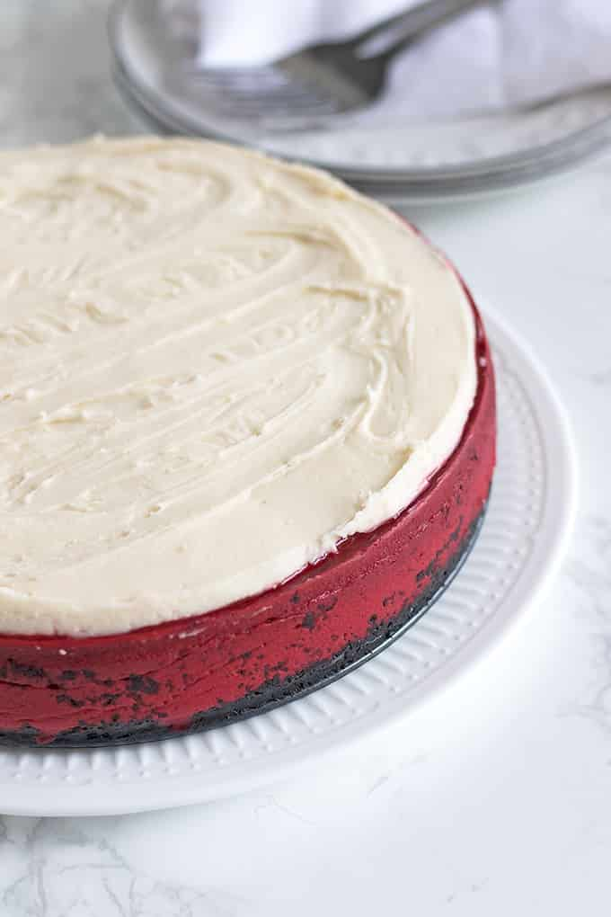 Combine two iconic desserts into one with a decadent Red Velvet Cheesecake.