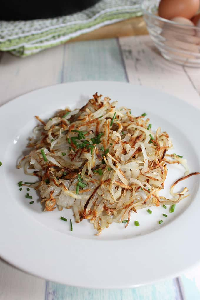The best homemade hash browns are made with freshly shredded russet potatoes and are crispy and soft all at the same time.