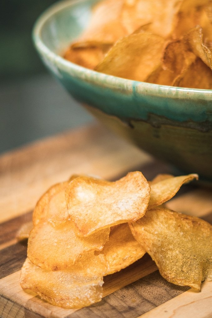 Three ingredients and a little bit of time is all it takes to make fresh homemade potato chips.
