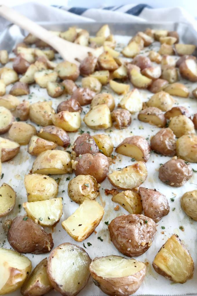 We use fresh garlic in our roasted potatoes and a special trick so the garlic doesn't burn.