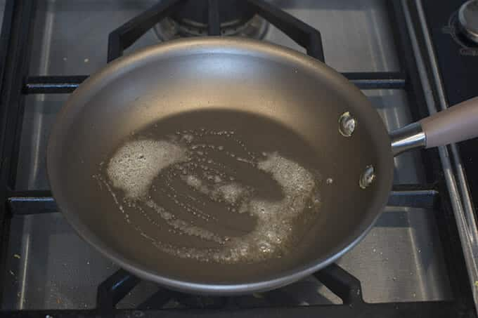 Melt some butter in a non-stick skillet.