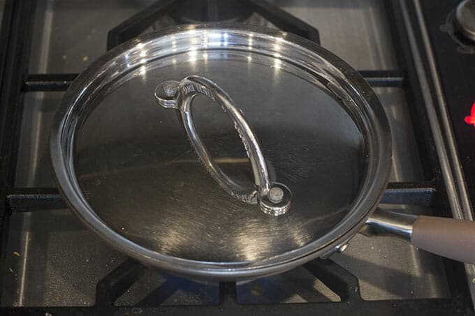 Skillet with lid on.
