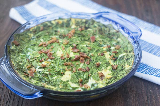Crustless quiche with spinach and bacon