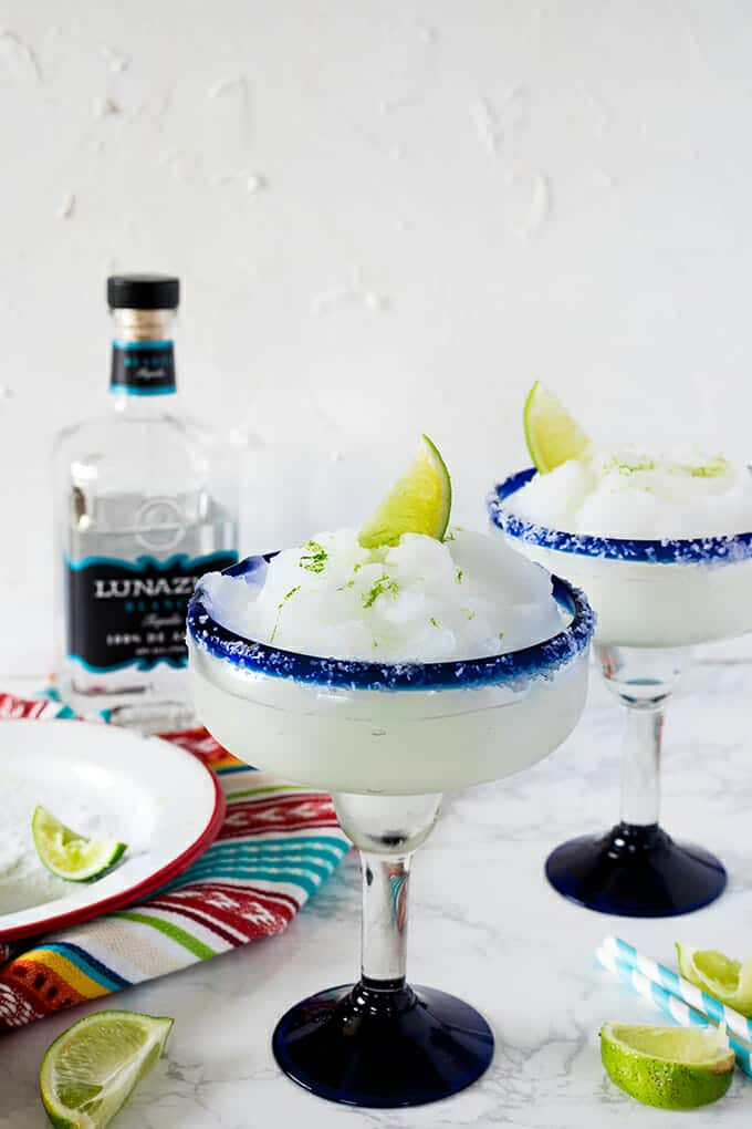 A frozen treat, perfect for summer entertaining. Blended frozen margaritas are perfectly balanced, combining simple, fresh ingredients. You'll fall in love with the simplicity and flavor of this cocktail.