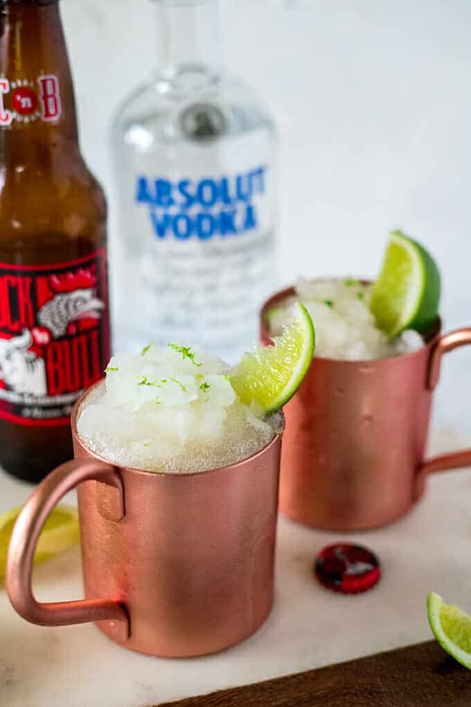 A light and refreshing twist on a classic cocktail, these frozen Moscow Mules are great for summertime entertaining!