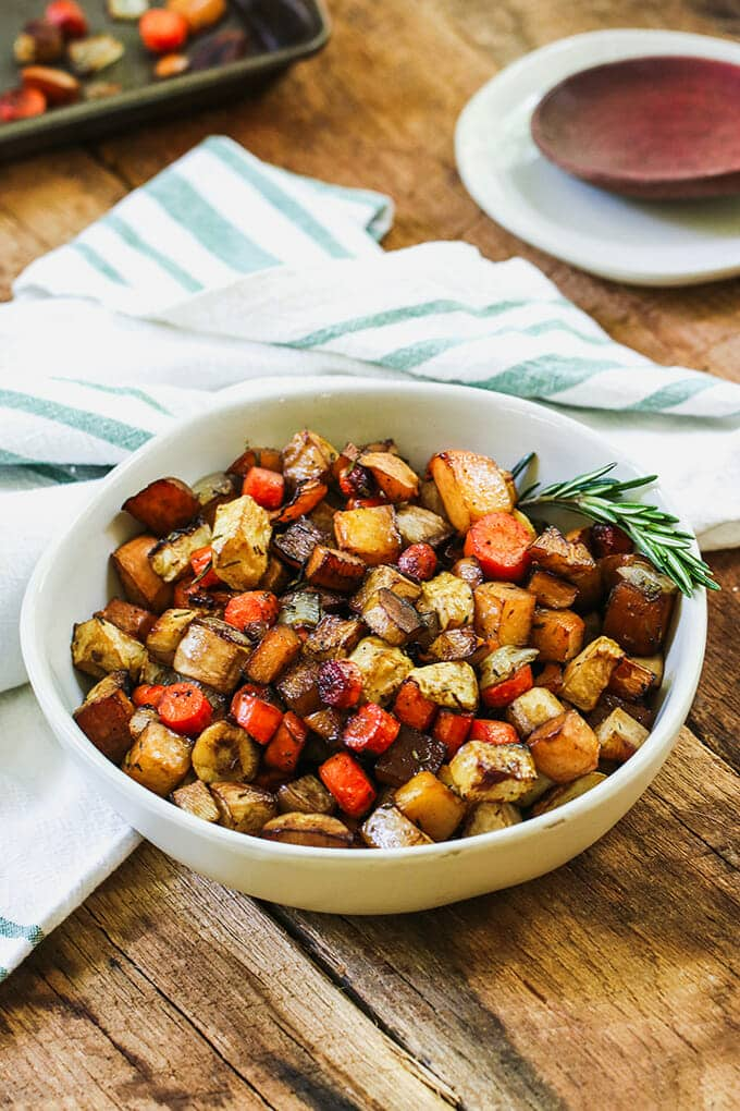 Roasted vegetables make the perfect side dish and this Balsamic Roasted Root Vegetable dish is sure to become a family-favorite autumn dish.