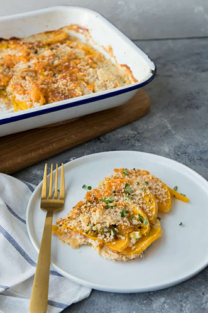 You're going to love having this Butternut Squash Gratin recipe on hand for autumn dinners and holiday meals.