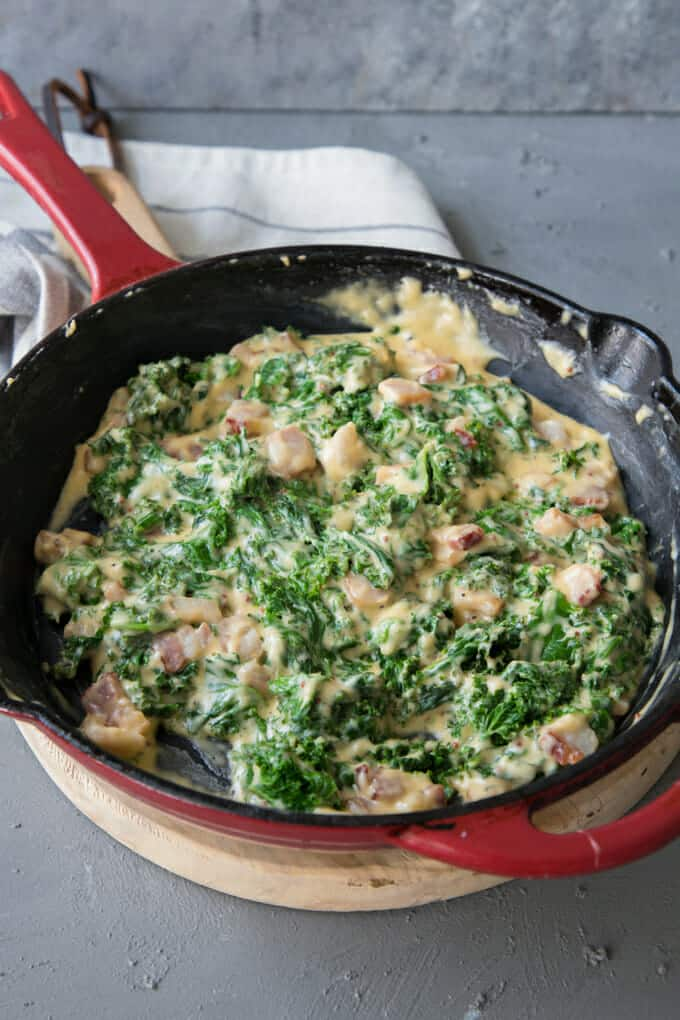 The perfect fall side dish, this stove top creamy kale and bacon dish is so easy to whip up and full of flavor. It's cozy, it's creamy, it's cheesy and it is so good as a side dish.