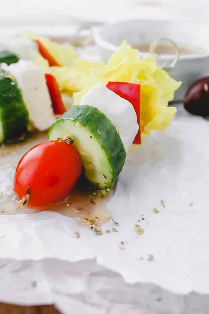 One way to make salad even better (and more fun) is to make mini Salad Skewers. Serve them for lunch or make it a party appetizer.
