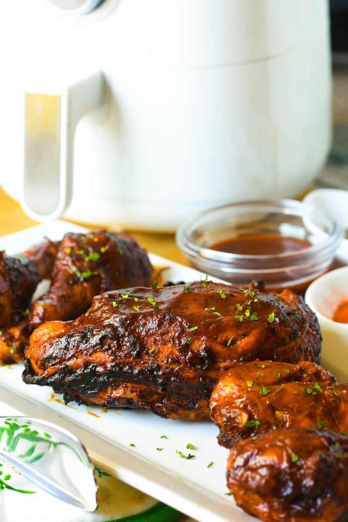 No standing in the hot sun over the grill! This BBQ Chicken is made in the comfort of your air-conditioned (hopefully) kitchen right in the air fryer.