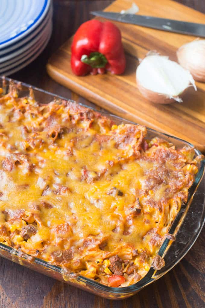 Beef Noodle Casserole is meaty and cheesy, and it comes together really quickly because it uses medium egg noodles, which cook really fast.