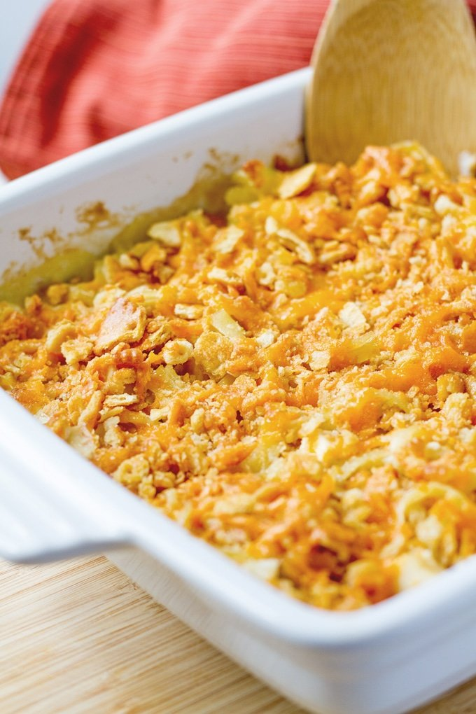 We're bringing Cheesy Chicken Casserole back and it's better than ever with a homemade condensed cream of chicken option and the best crunchy topping ever.