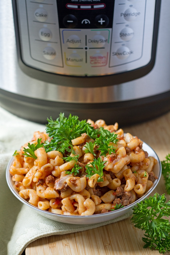 Thanks to the Instant Pot you can have a comforting one pot American-style goulash in no time. Plus, cooking it under pressure infuses all those flavors while it cooks.