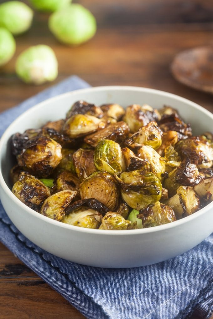 The only thing better than air fryer roasted Bruseels sprouts are Brussels sprouts coated in a balsamic honey glaze then cooked until they're just a little crispy.