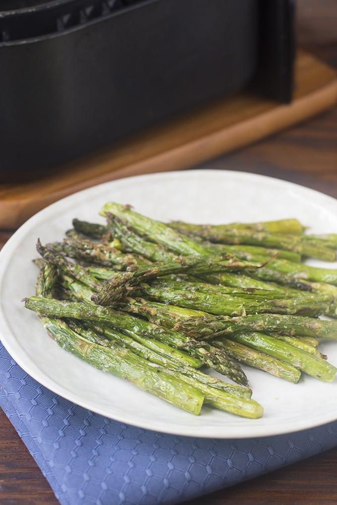 Asparagus with browned tips and soft stalks is one of my favorite things. The air fryer does it perfectly!