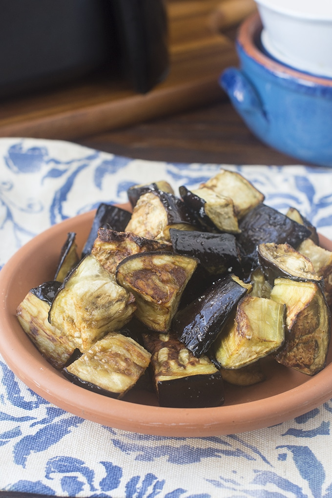 The air fryer is my favorite way to cook eggplant. It turns out browned on the outside, but still plump and meaty on the inside.
