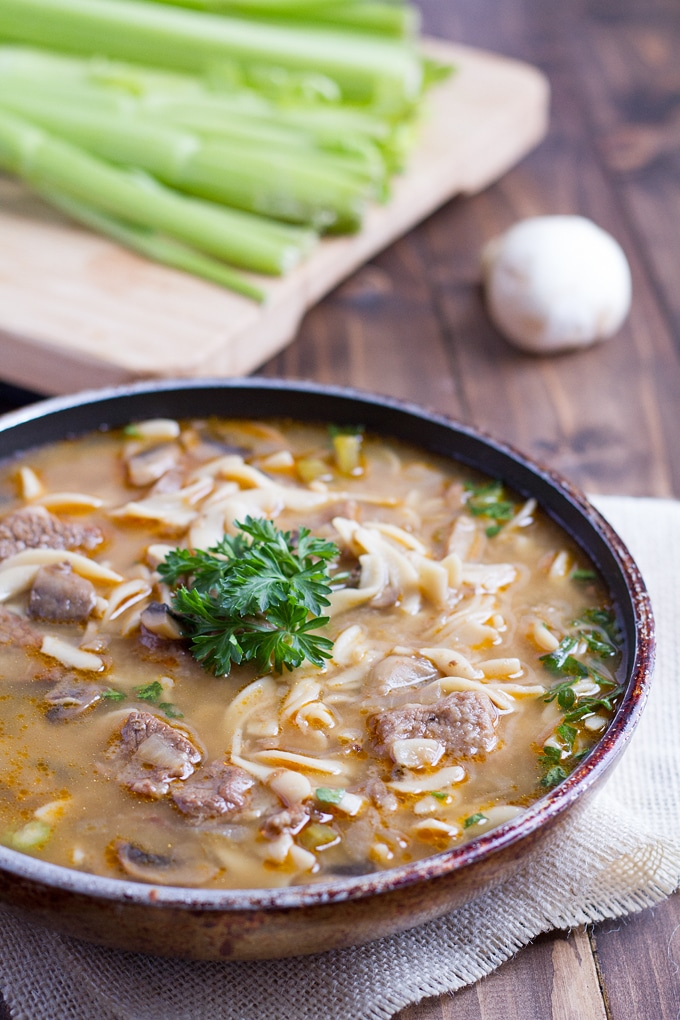 Hearty Beef Stroganoff Soup is the perfect meal for cold winter months.