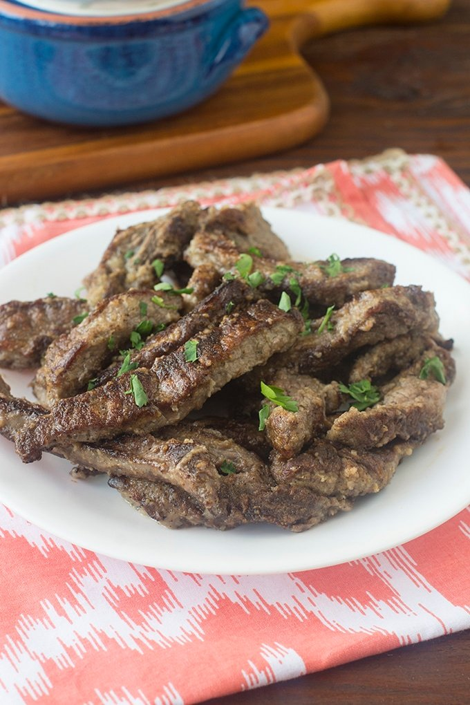 Beef strips cook up nice and quick, making them perfect for busy weeknights. You can use them in stir fries, soups, fajitas, and even beef stroganoff.