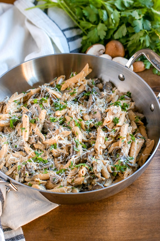 Vegetarian Stroganoff is a delicious substitute for the classic made with just vegetables. Using more mushrooms than classic beef stroganoff keeps the dish meaty and gives those deep, earthy flavors that beef stroganoff is known for.