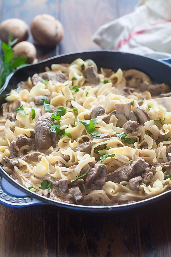 Beef stroganoff is one of our staple recipes in the winter. There's nothing quite like it to warm you up on a cold day.