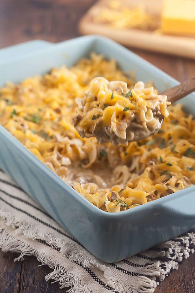 Beef Stroganoff Casserole has all the flavor of traditional beef stroganoff with the convenience of a casserole. The perfect dish to prep ahead and heat on a busy weeknight.