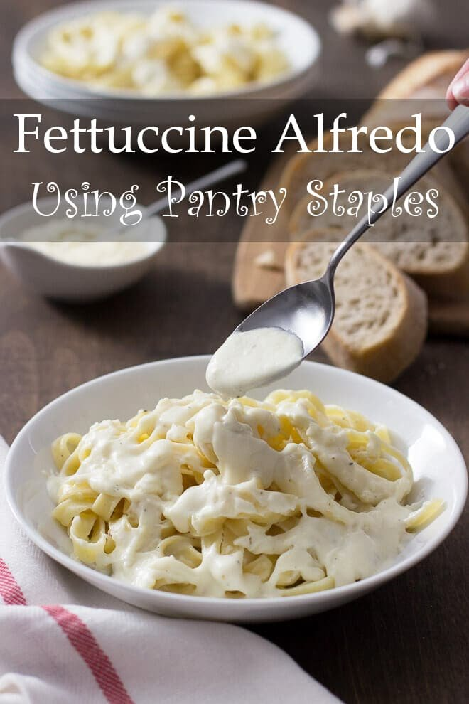 This version of Fettucine Alfredo is made completely from pantry ingredients. It's quick and delicious and is great when you need a pasta sauce in a flash.