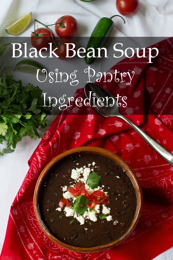 This black bean soup uses pantry ingredients and comes together in under 15 minutes.