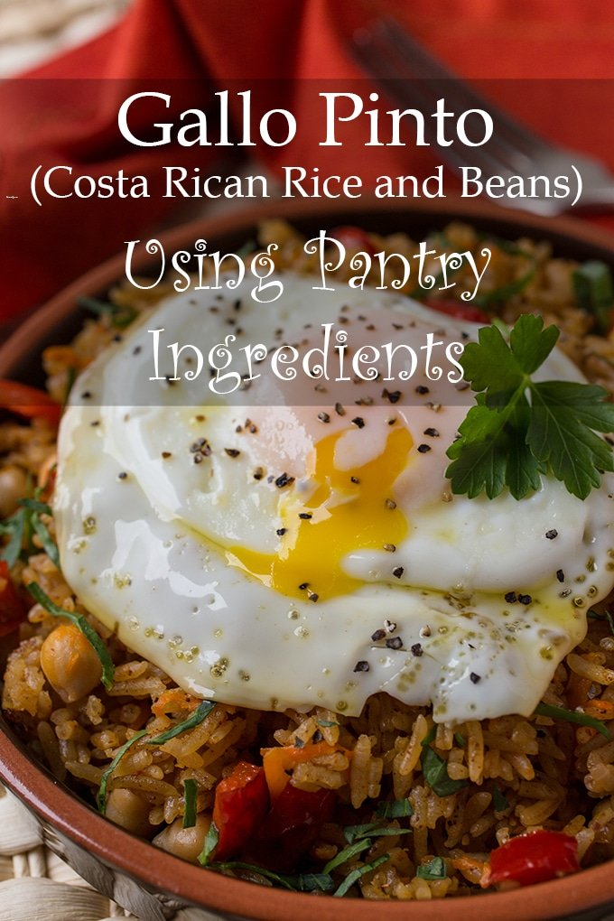This Costa Rican Gallo Pinto (Rice and Beans) is made using only pantry staples and then is topped with a satisfying fried egg.
