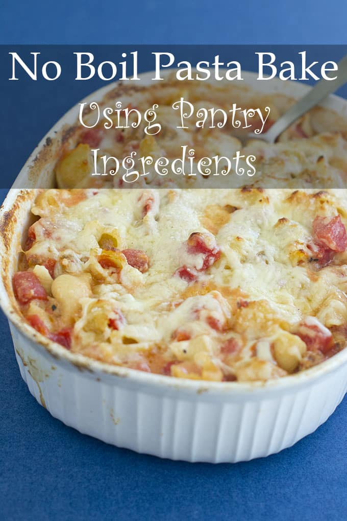 This pasta bake uses pantry ingredients and uncooked pasta. Yes, really. You simply put the ingredients into a casserole, cover it with foil, and bake it. And hey, it's really delicious too!