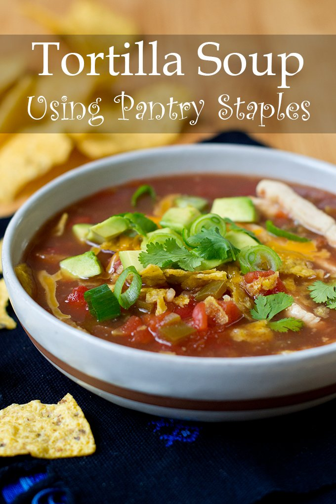 This tortilla soup is made with pantry ingredients, and it's super quick too. If you have extra ingredients on hand, you can add them on as toppings!
