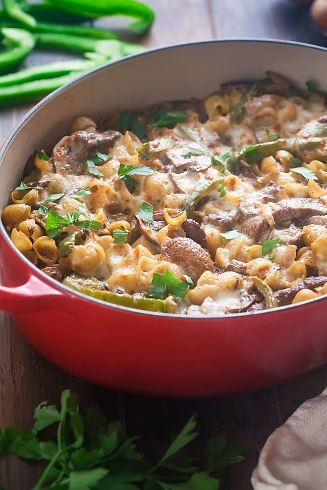 This spin on the iconic Philly Cheesesteak is sure to be a hit. We took all those delicious flavors and made them into a one pot pasta dish.