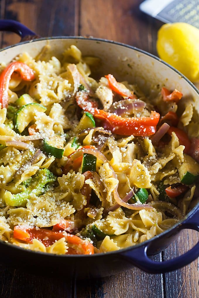 Pasta Primavera is an easy way to get veggies into dinnertime. This tasty one pot pasta dish is cooked in a light cream sauce and perfect for springtime dinners.