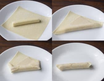 picture collage showing the steps to wrap an eggroll wrapper around a cheese stick