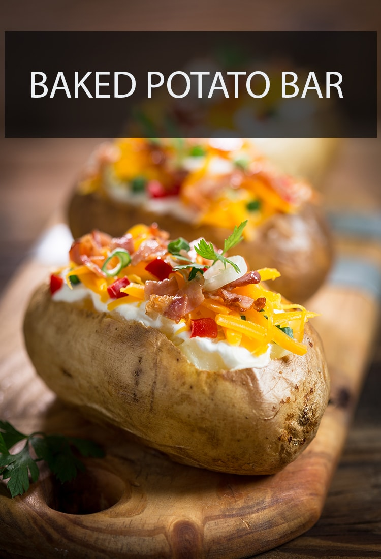 When you're hosting a party and looking for new and inventive food ideas, you can't go wrong with a baked potato bar.#potatorecipes