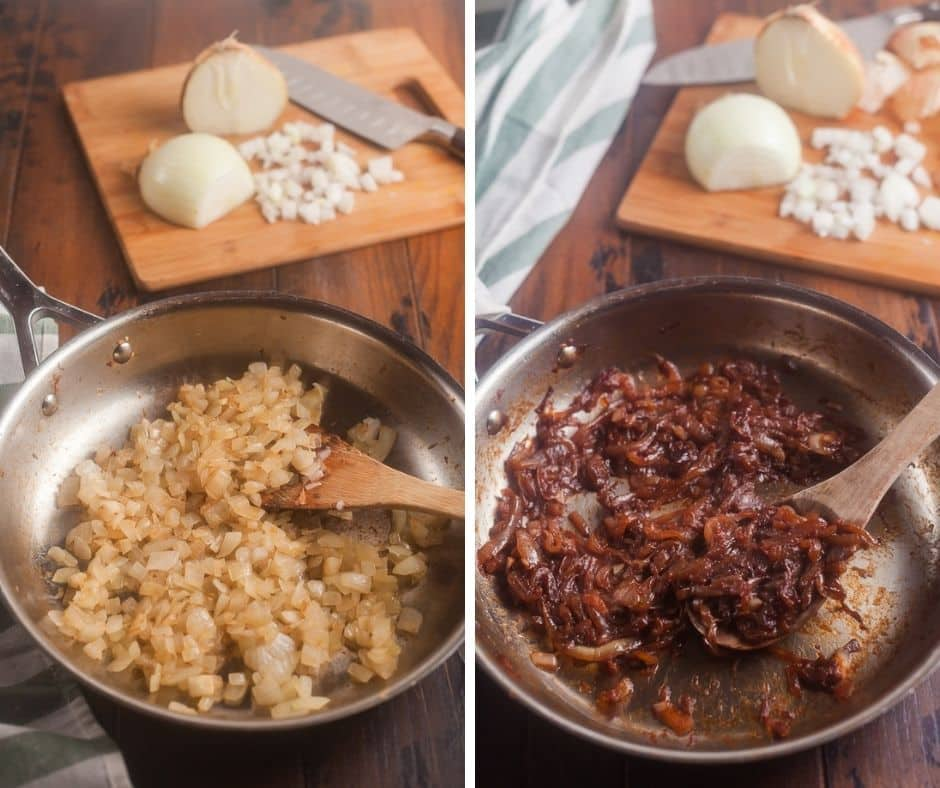 side by side comparison of sauteed onions and caramelized onions; both in stainless steel frying pans with wooden spatula and cutting baord in background with 2 onion halves on them with chopped onions and a knife