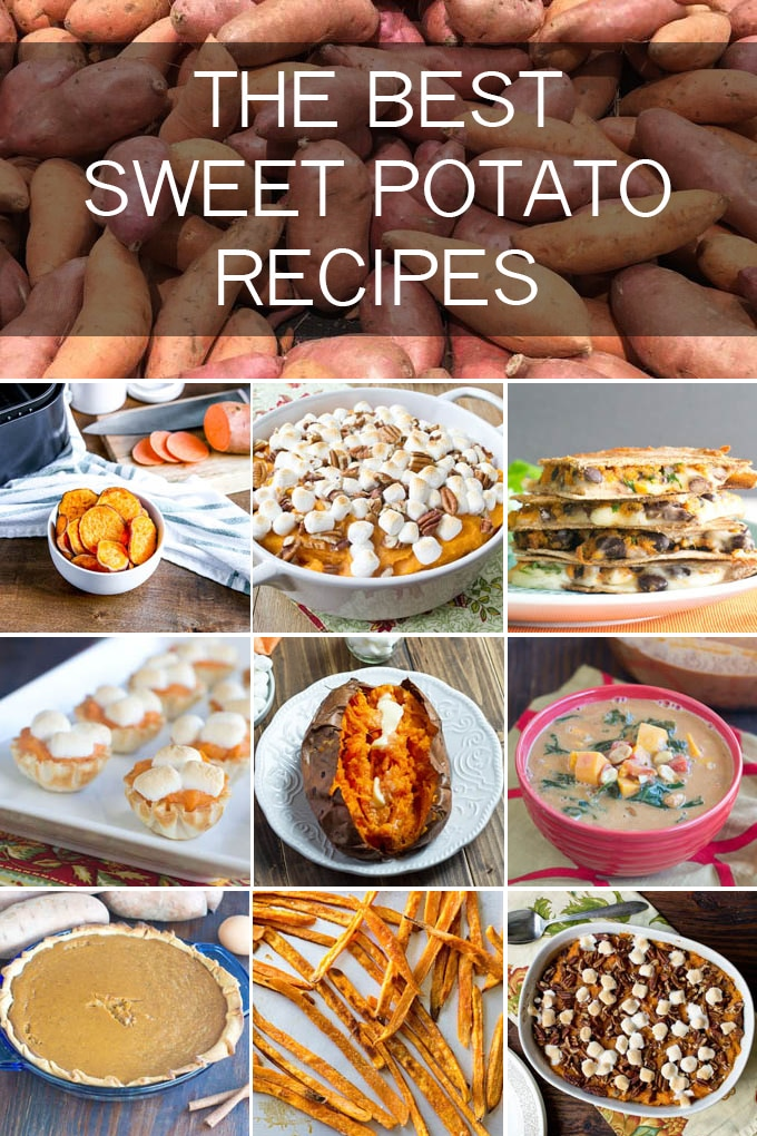 collage with a variety of sweet potato dishes; text overlay that says the best sweet potato recipes