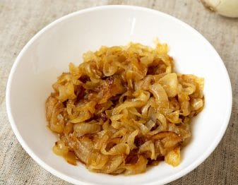 caramelized onions in white bowl