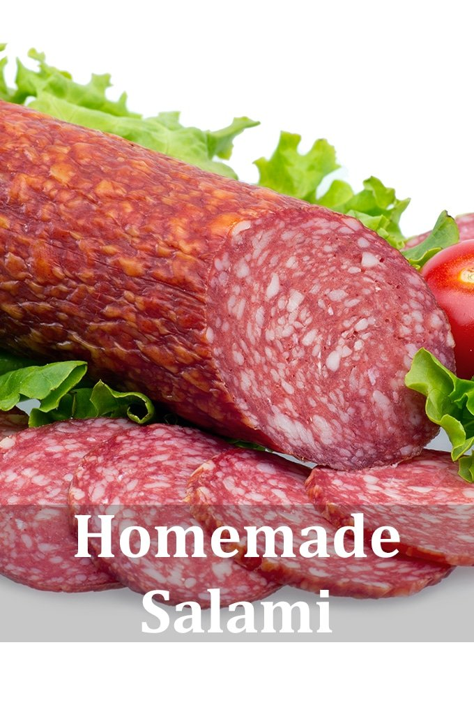 """A chunk of salami on a white background with some slices cut from it. There's lettuce and tomato in the picture, and the words """"Homemade Salami""""."""