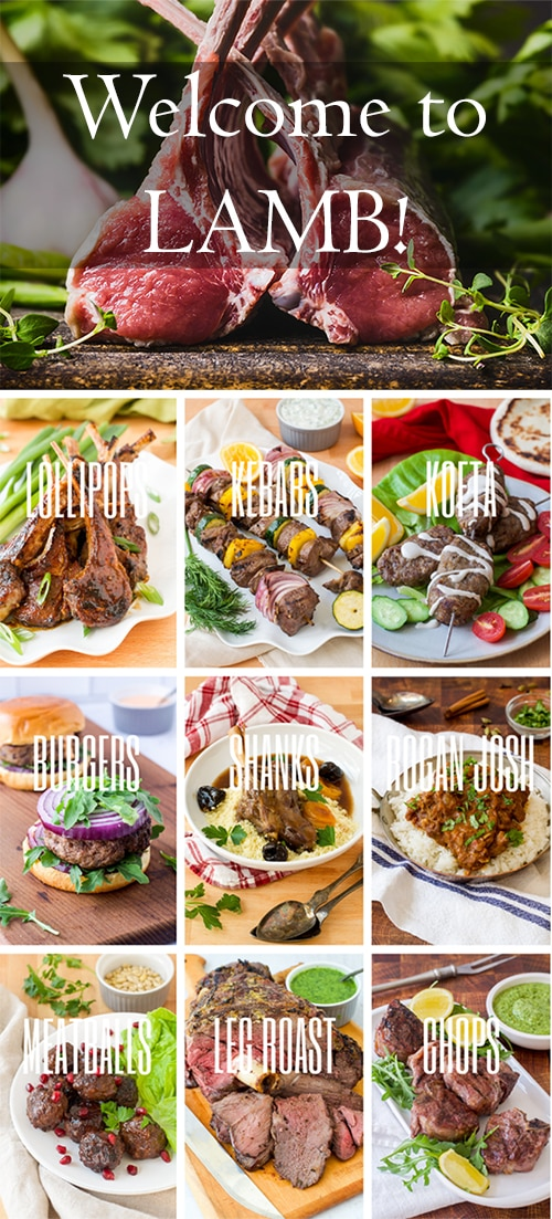 collage with types of lamb; each image says type o cut