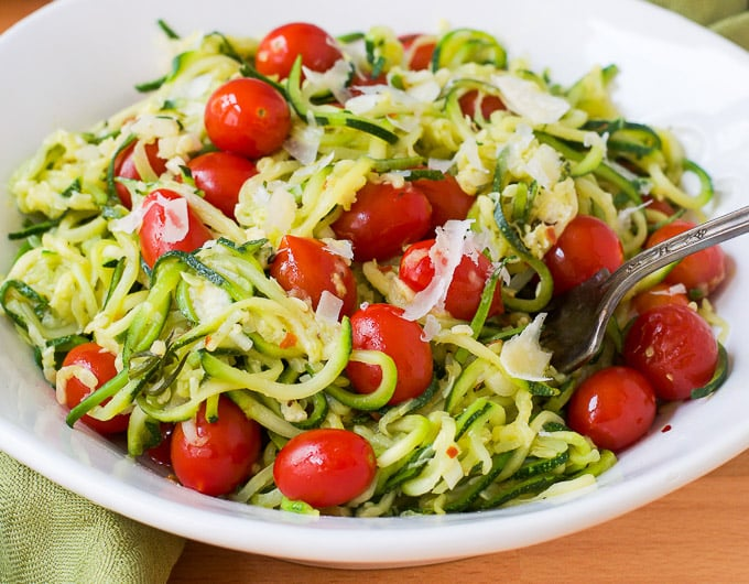 zucchini noodles tossed with tomatoes and herbs